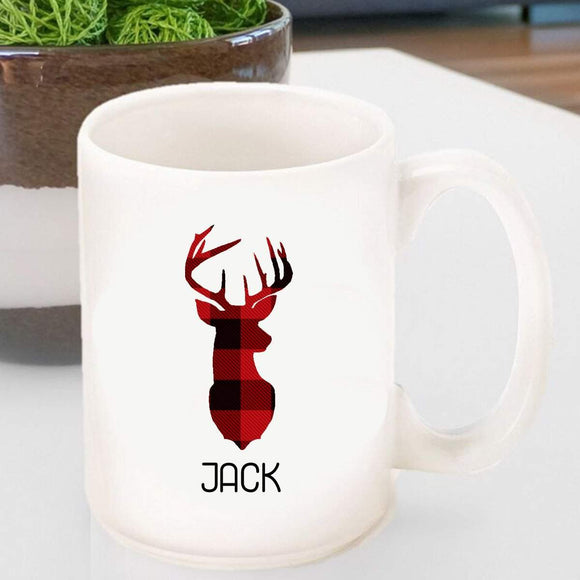 Personalized Coffee Mug - Red and Black Plaid Deer