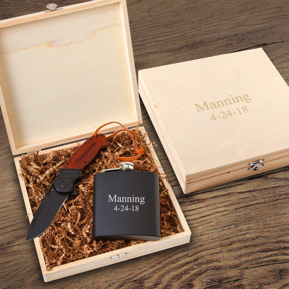 Personalized Larkhall Groomsmen Flask Gift Box Set