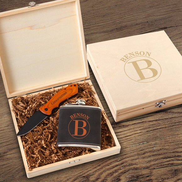 Personalized Kinross Groomsmen Flask Gift Box Set