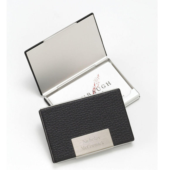 Personalized Business Card Holder - Black Leather - Executive Gifts