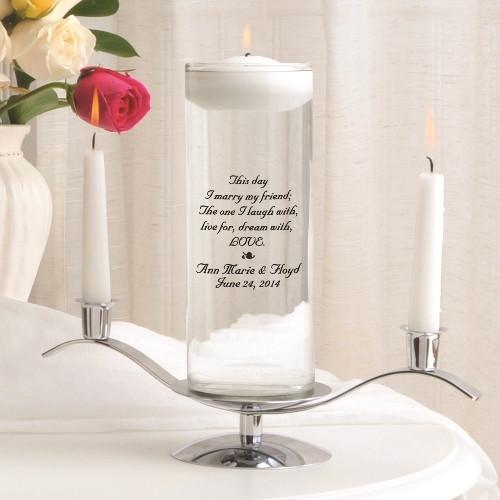 Personalized Floating Unity Candle Set - This Day Poem