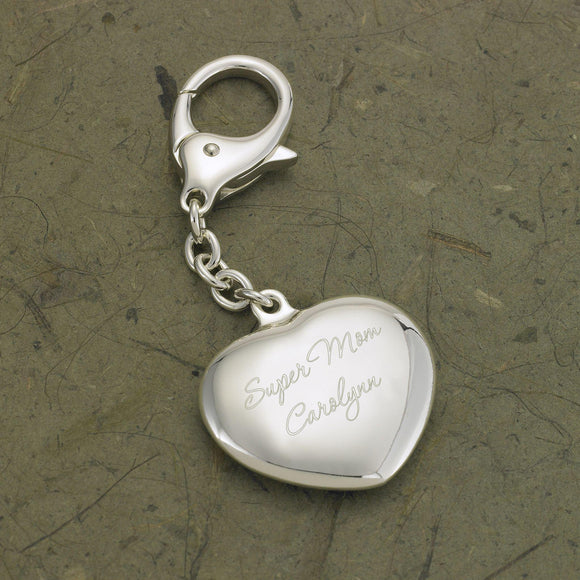 Personalized Keychain - Silver Plated - Heart Shaped - Gifts for Her