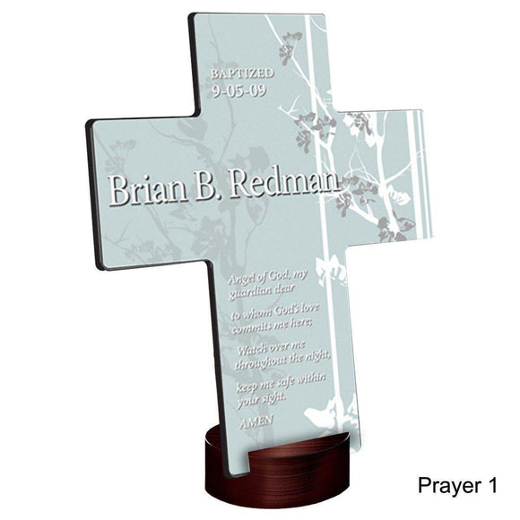 Personalized Faith and Flowers Cross with Stand