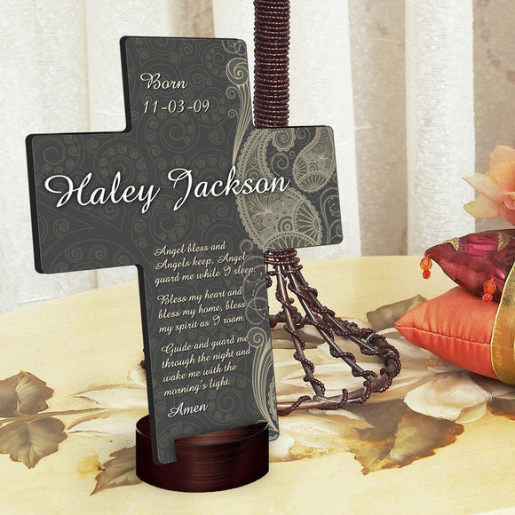 Personalized Paisley Praise Cross with Stand