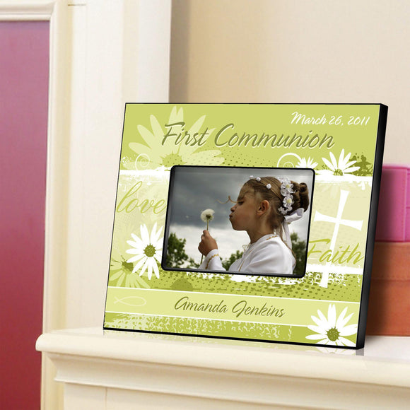 Personalized First Communion Picture Frame-Delicate Daisy