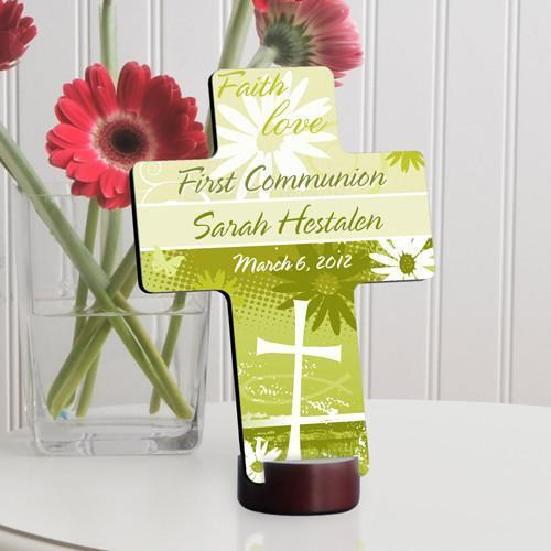 Personalized First Communion Cross-Delicate Daisy Cross