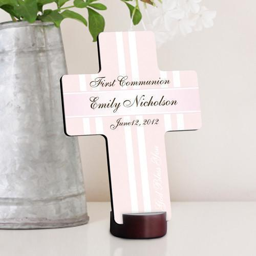 Personalized First Communion Cross-Gold Bless The Children