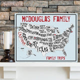 Personalized Family Signs - Travel Map - Canvas Sign