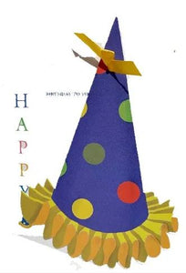 "Party Hat die cut card with glitter - ""Happy Birthday to you."""
