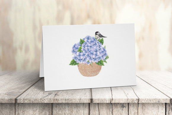 Hydrangea and Chickadee in a Nantucket Basket Note Card