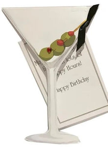 Martini die cut birthday card with glitter