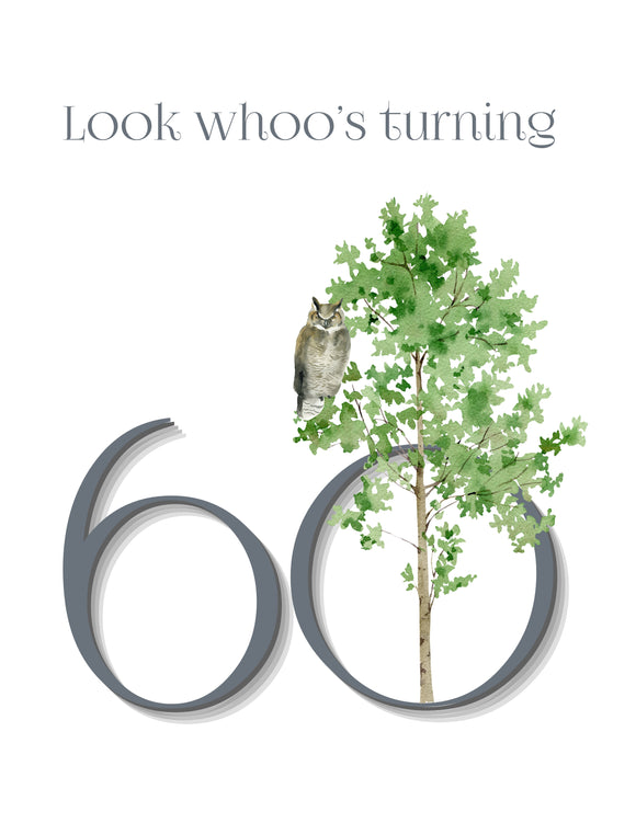 Look whoo's turning 60 Birthday Card