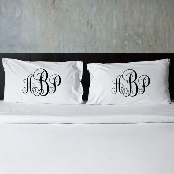 Personalized Interlocking Monogram Pillow Cases for Couples