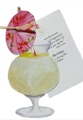 Pina Colada die cut Birthday card with glitter -