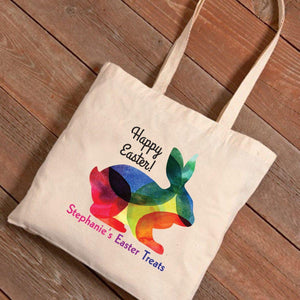 Personalized Easter Canvas Bag - Rainbow Bunny