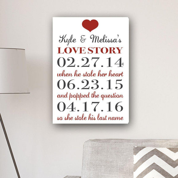 Personalized Our Love Story Canvas Print