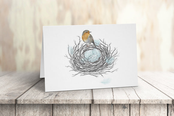 Robin in the nest Note Cards