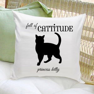 Personalized Throw Pillow - Cat Silhouette - Gifts for Cat Lovers