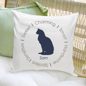 Personalized Circle of Love Cat Silhouette Throw Pillow - Blue