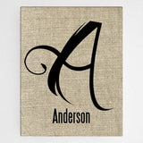 Personalized Family Initial Canvas Sign