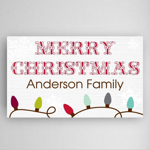 Personalized Christmas Lights Canvas Sign