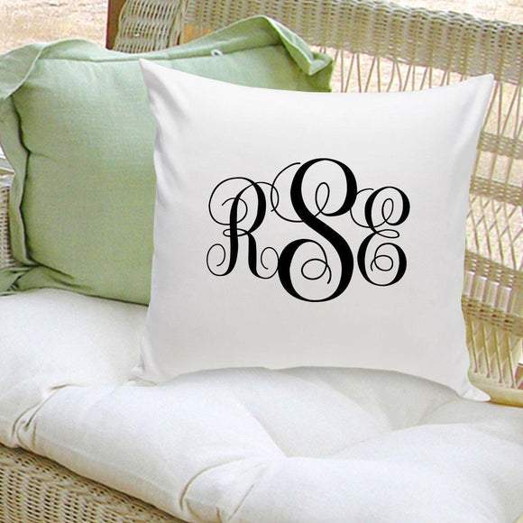 Personalized Interlocking Monogram Throw Pillow