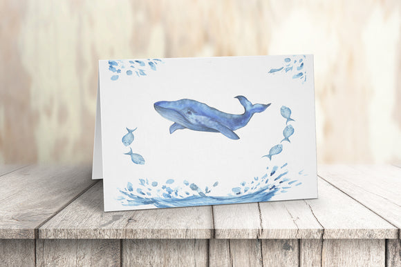 Whale Watercolor Note Cards