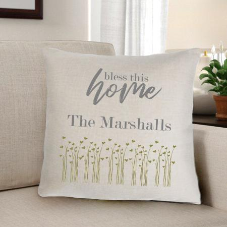 Bless This Home Personalized Throw Pillow