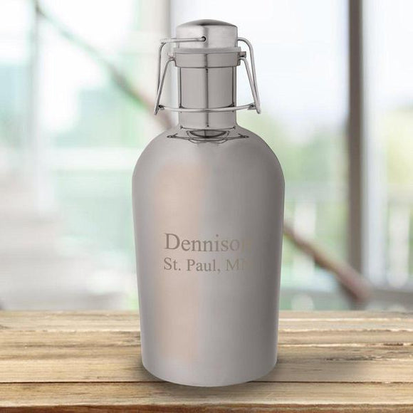 Personalized Gunmetal Growler -Metal