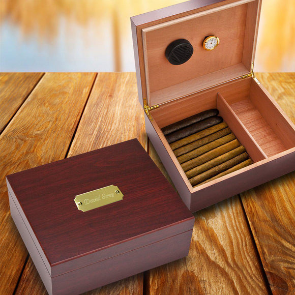 Personalized Humidor - Wood - Cherry Finish - Groomsmen Gifts