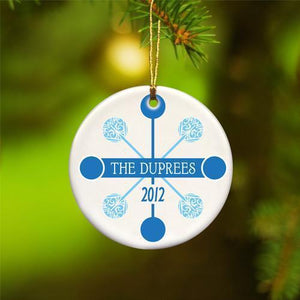 Personalized Blue Contemporary Ceramic Ornament