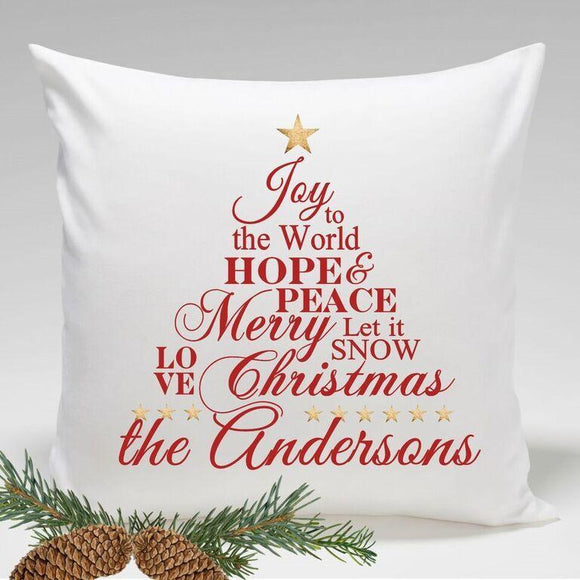 Personalized Holiday Throw Pillows - Joy to the World