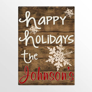Personalized Holiday Canvas Signs - Happy Holidays Canvas