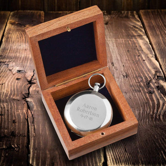 Personalized High Polish Silver Keepsake Compass with Wooden Box