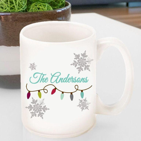 Personalized Holiday Coffee Mug - Lights