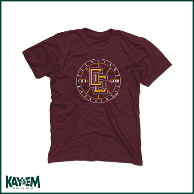 CLE Monogram Basketball Maroon T-Shirt