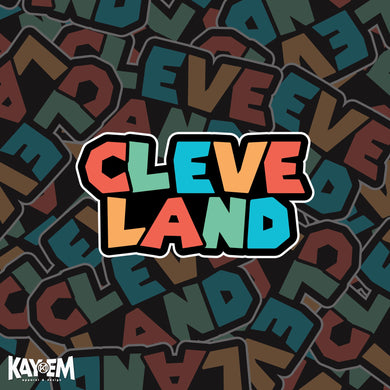 Colorful Cleveland Font Sticker