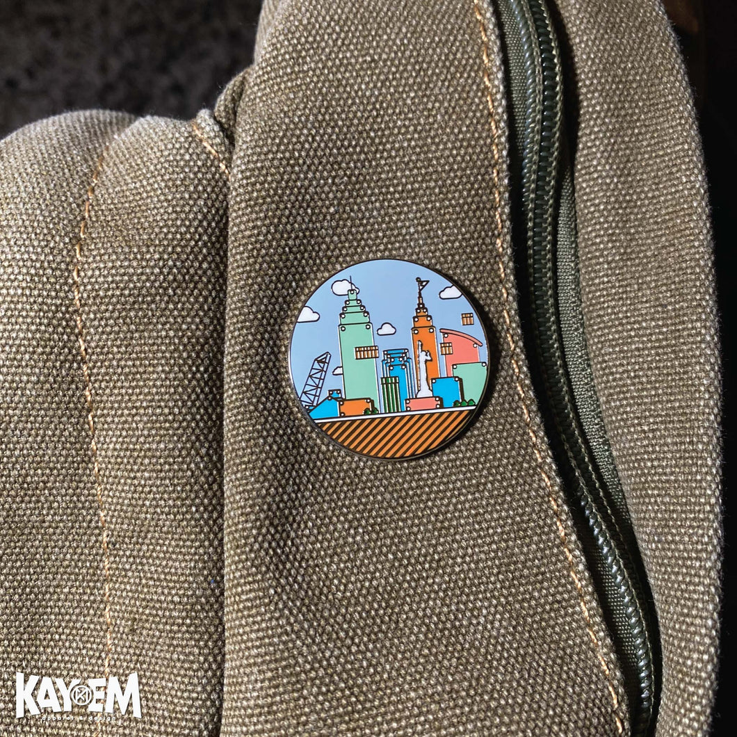 Colorful Cleveland Enamel Pin