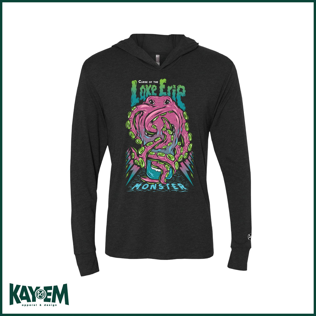 Curse of the Lake Erie Monster Black Hooded T-shirt
