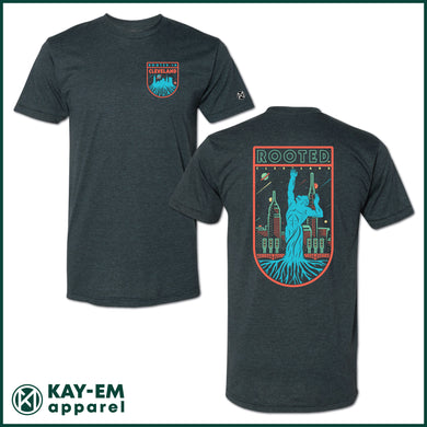 Rooted in Cleveland Black Aqua T-shirt