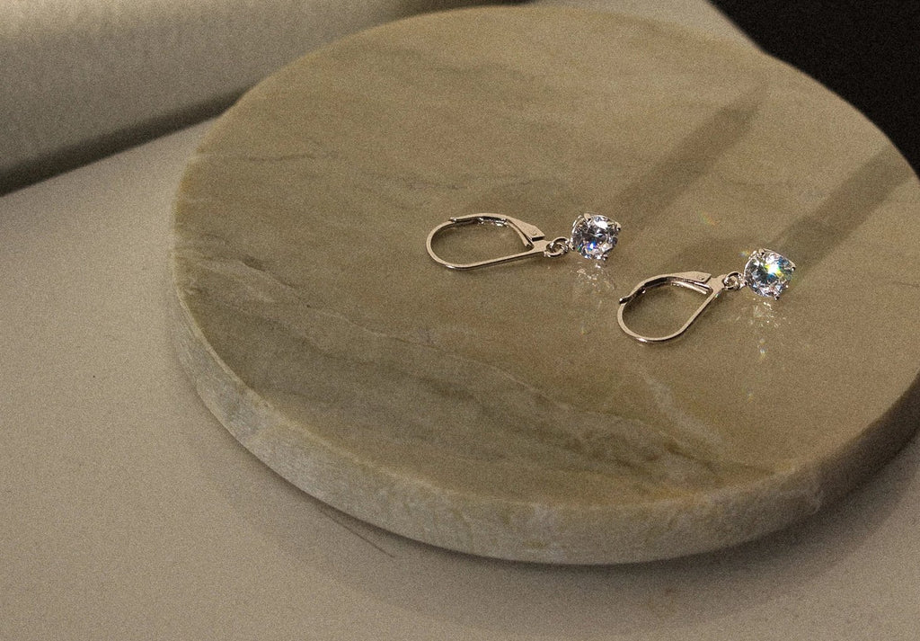 silver fancy silver earrings, cubic silver dangling earrings, silver cubic earrings toronto, mejuri silver cubic danling, mejuri, made in toronto, cheap cubic earrings