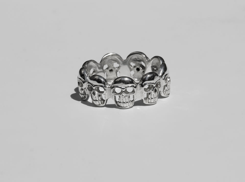 Load image into Gallery viewer, buy toronto mens silver ring, buy cheap silver ring toronto, buy cheap silver mens ring new york, buy cheap silver mens skull ring, solid silver skull ring mens