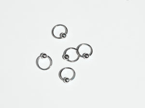 Load image into Gallery viewer, etsy silver nose rings, etsy cheap silver nose ring, buy silver hoops with ball nose ring, silver nose ring with ball toronto, etsy silver captive bead nose ring, made in toronto,