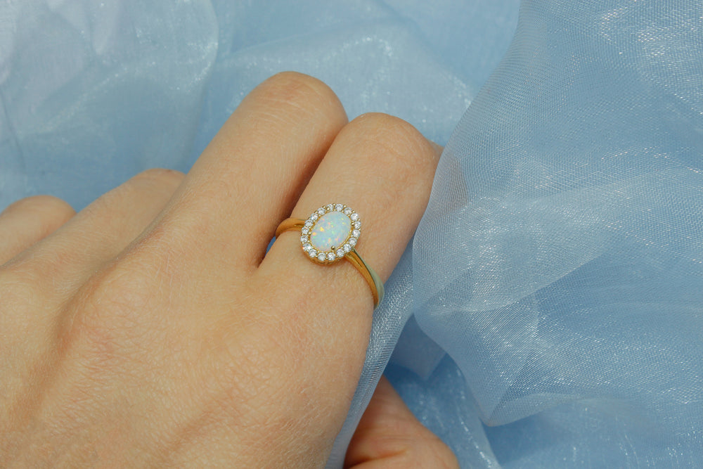 Load image into Gallery viewer, Opal 10k gold ring, opal gold ring toronto, opal gold ring etsy, etsy opal ring toronto, real opal gold ring toronto, real opal gold ring new york etsy, wwake opal gold ring, opal gold ring kijiji, opal gold rings peoplesjewellers