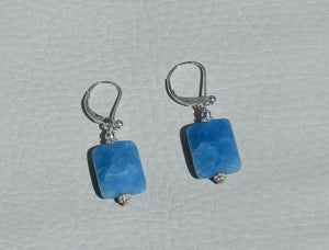 Load image into Gallery viewer, silver blue stone dangling earrings, turqois laps stone earring, silver hippy stone earings, dangling crystal earrings, toronto