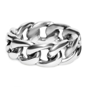 Solid Silver thick chain ring for men toronto, big silver chain ring toronto, gold solid chain ring