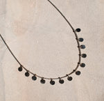 Boho Coin Necklace | 10k White/Yellow Gold | 17""