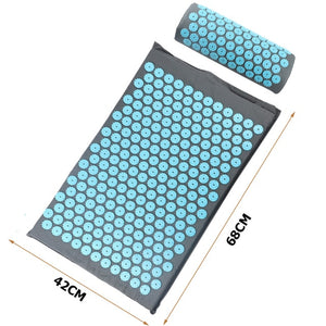 Acupressure pain relief mat with pillow
