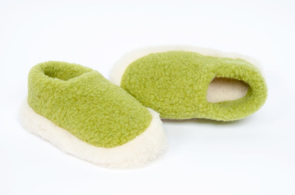 Pea Green Wool Unisex Slippers