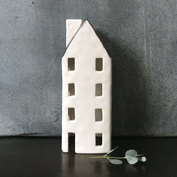 Tall Porcelain House Tealight Holder